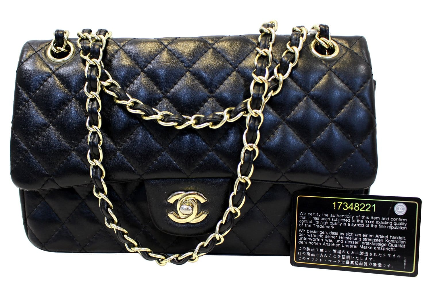 56a9b7ba0cd392 CHANEL Quilted Lambskin Leather Double Flap Classic Medium Black Bag