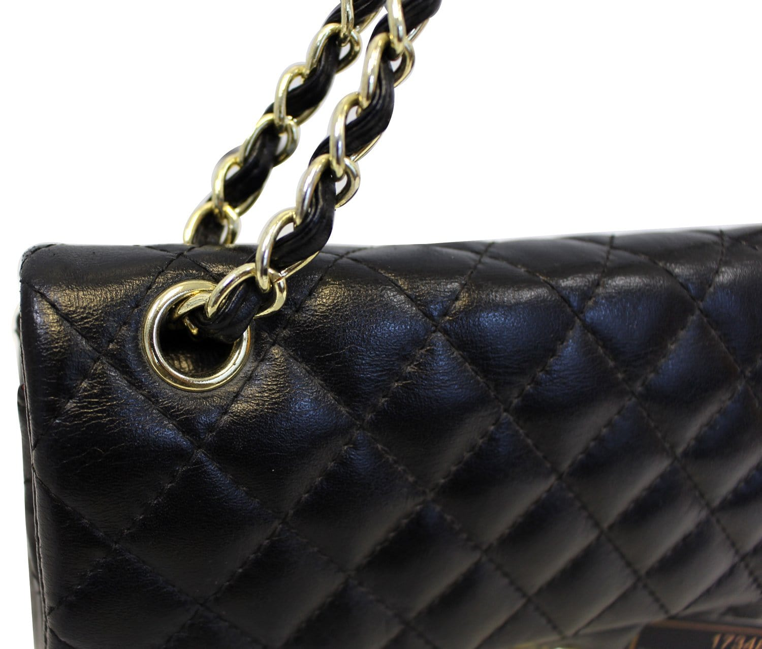 b283136e9bcd CHANEL Quilted Lambskin Leather Double Flap Classic Medium Black Bag