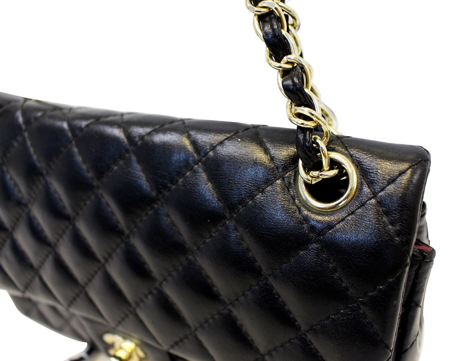 d98cd19f8810 CHANEL Quilted Lambskin Leather Double Flap Classic Medium Black Bag
