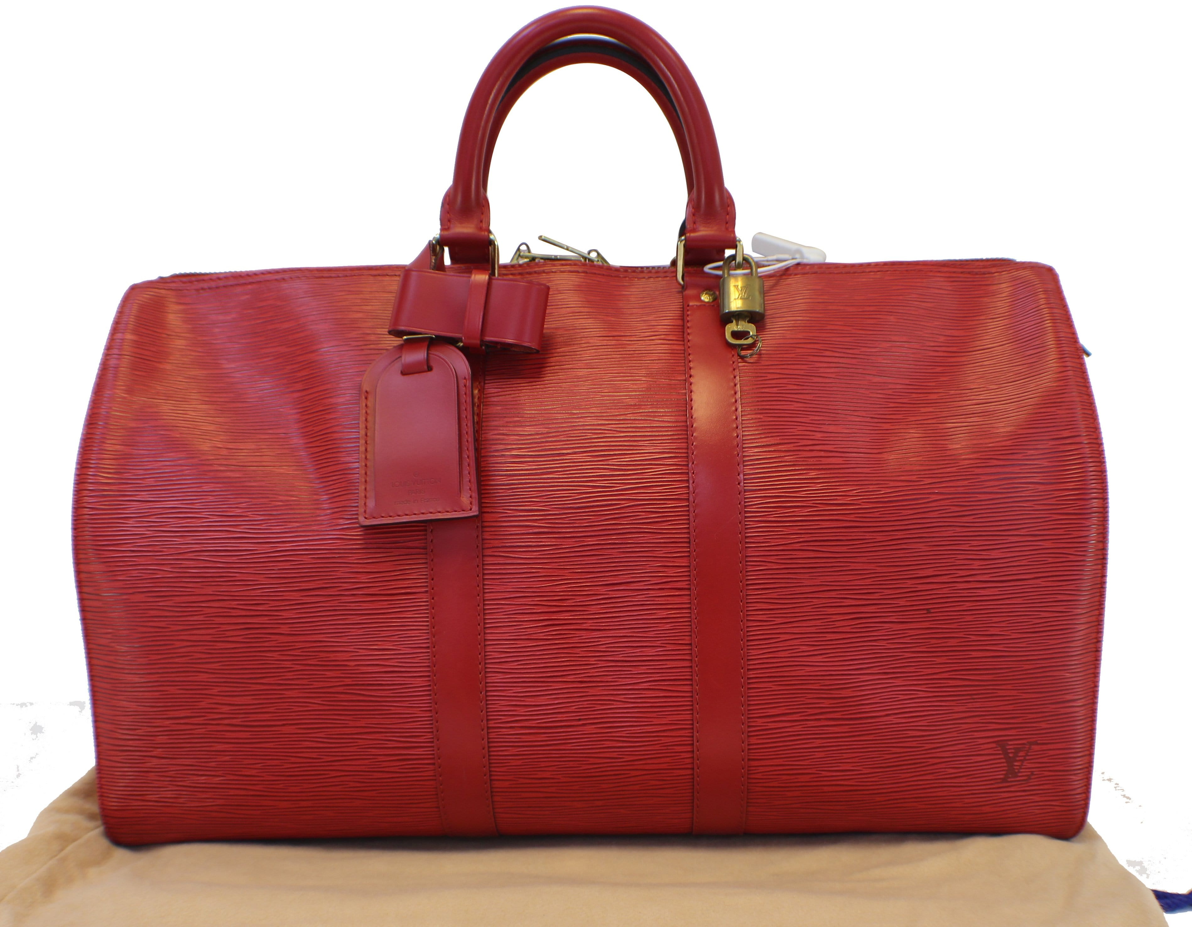 dc0a6fc0d606 Authentic LOUIS VUITTON Epi Leather Red Keepall 45 Boston Bag ...
