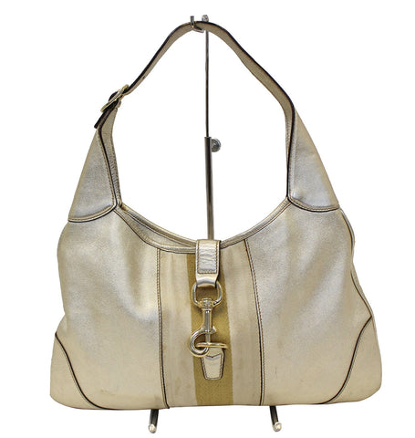 Gucci Web Jackie O Bouvier Medium Leather Hobo Bag - Sale