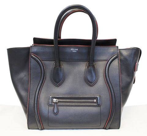 CELINE Black Red Smooth Leather Mini Luggage Tote Bag