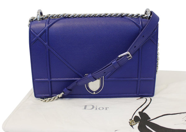 17cb406bf163 Authentic CHRISTIAN DIOR Blue Grained Calfskin Leather Diorama Bag TT1