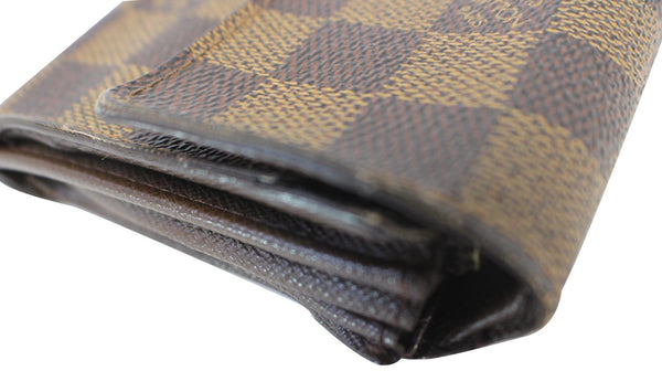 Louis Vuitton Damier Ebene Long Sarah Wallet Canvas Brown - Corners