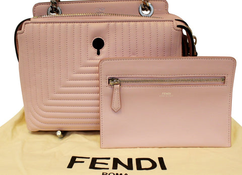 FENDI DOTCOM Click Quilted Lambskin Pink Leather Chain Shoulder Bag
