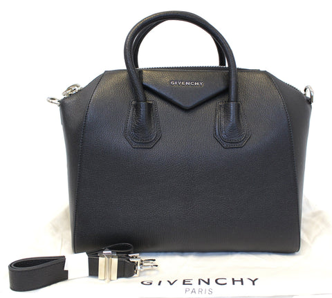 GIVENCHY Large Black Leather Antigona Shoulder Bag