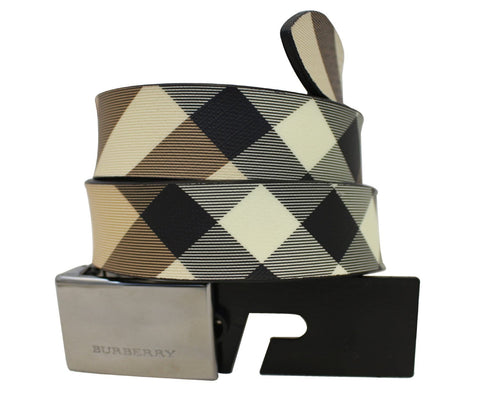 BURBERRY Horseferry Check and Leather Belt - 30% Off