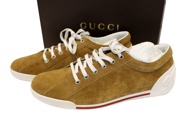 Authentic GUCCI Women's Suede Leather Sneaker Script Logo Size 41G TT1772