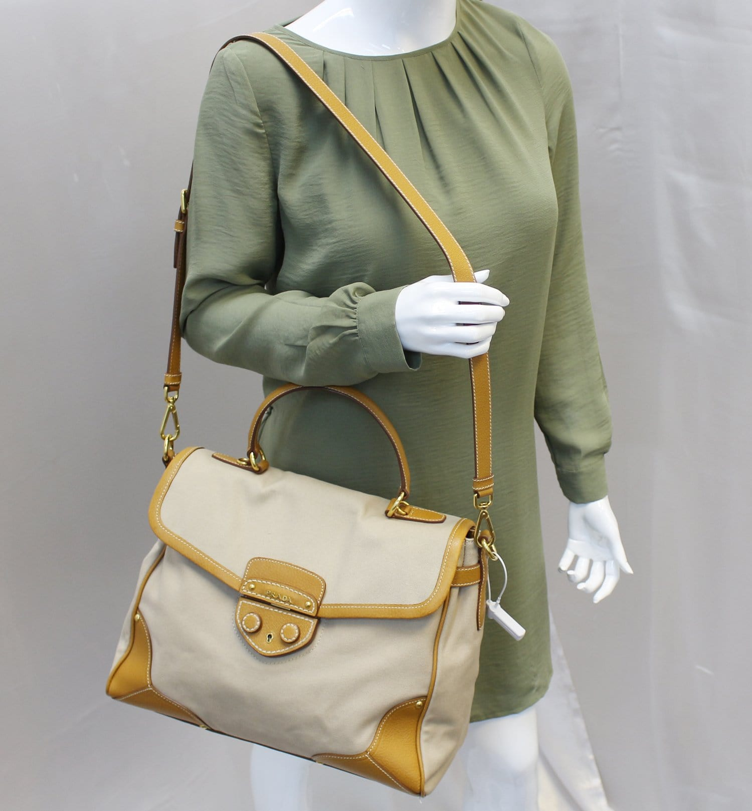 888ae3876fd34e PRADA Corda/Cuoio Canapa and Cinghial Canvas Pattina Satchel Bag