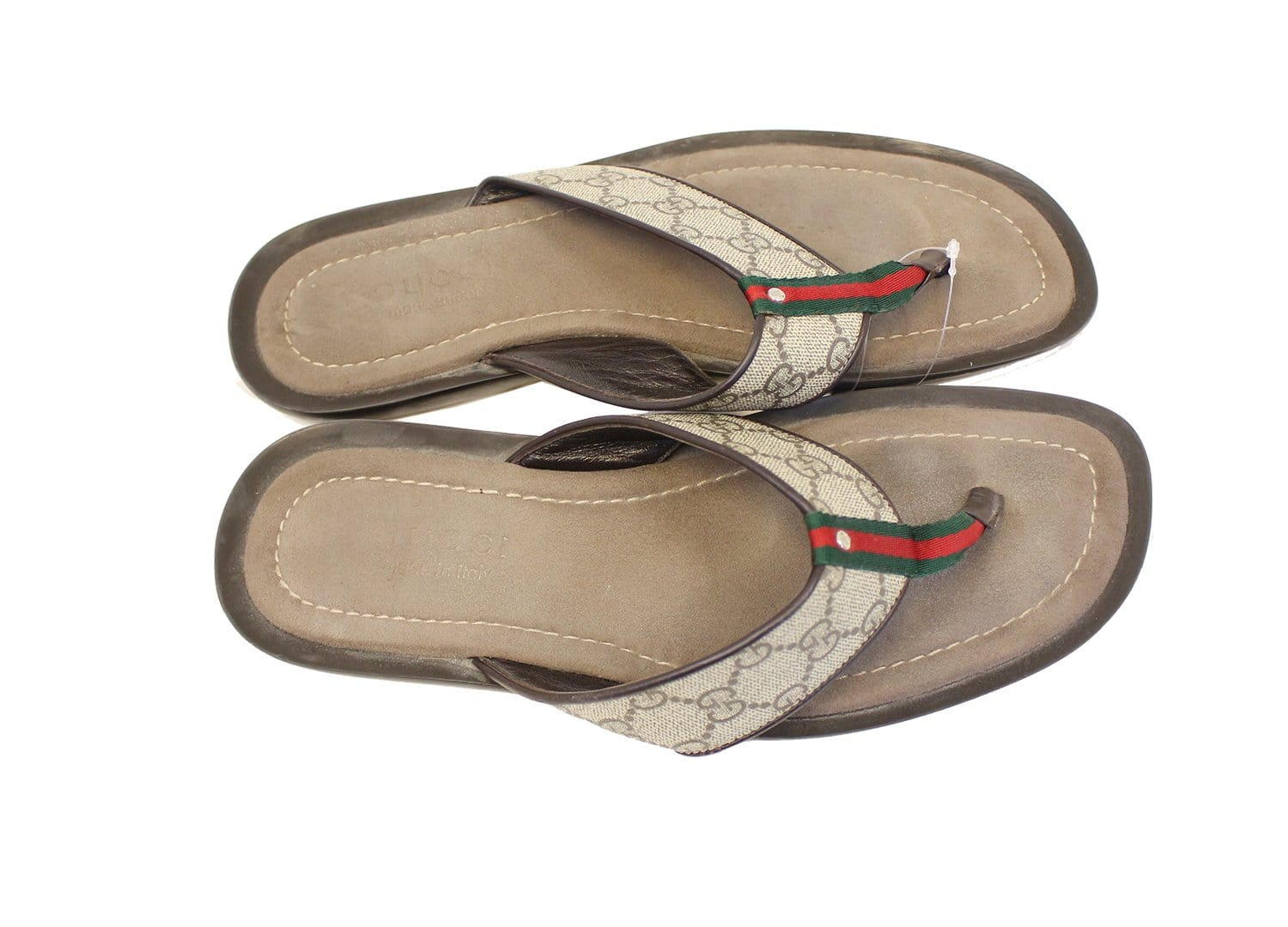 Gucci Gg Supreme Mens Leather Flip Flops Sandals Size 9 G -4464