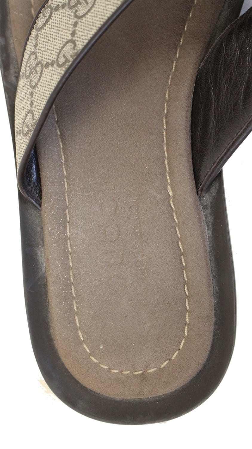 Gucci Gg Supreme Mens Leather Flip Flops Sandals Size 9 G -8143