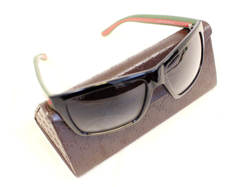 Gucci 1013 Shiny Black Rectangular Red/Green Web Logo Sunglasses GG 1013/S