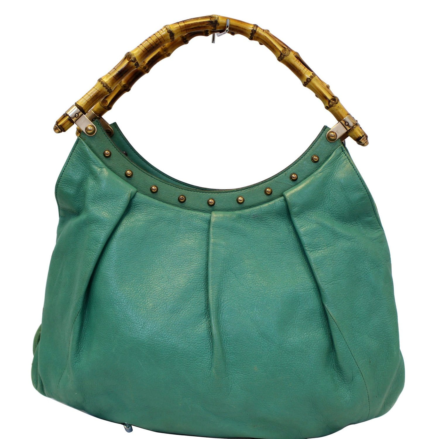549745c85cf2 GUCCI Green Leather Bamboo Top Handle Shoulder Bag 124293