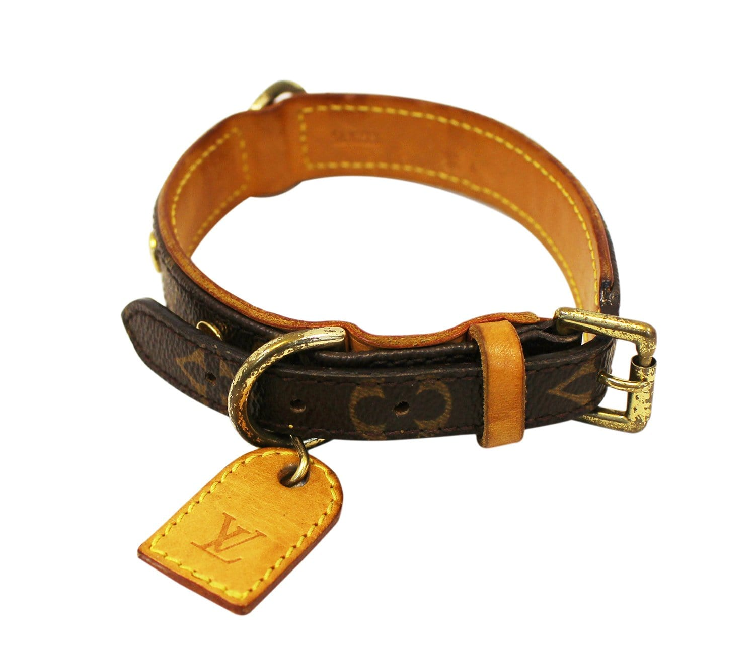 4c2d4387 LOUIS VUITTON Monogram Canvas Collier Baxter MM Lead Dog Collar