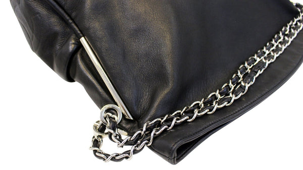 Chanel Shoulder Bag Black Lambskin Leather - CHANEL Bags - chain