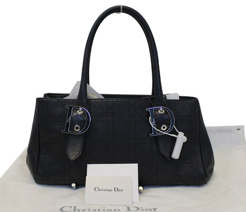 CHRISTIAN DIOR Black Leather Cannage Medium Tote Bag - 30% Off