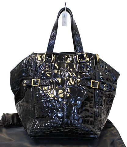 YVES SAINT LAURENT Black Patent Leather Downtown Medium Tote Bag - 30% Off