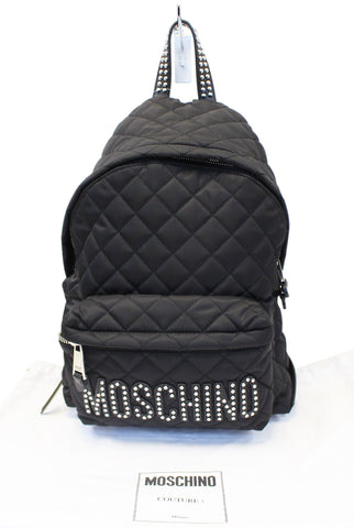 Moschino Women Large Studded Quilted Nylon Black Backpack - 30% Off