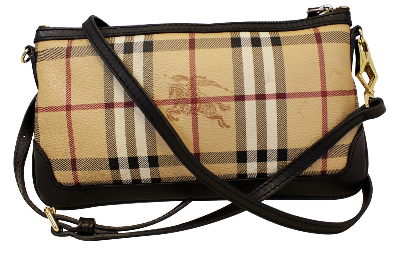 13e7a3808316 BURBERRY Haymarket Check Coated Canvas Peyton Crossbody Bag