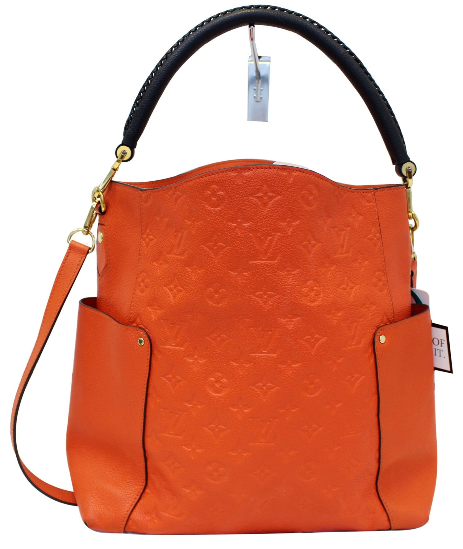26cc042ed7a7 LOUIS VUITTON Orange Monogram Empreinte Leather Bagatelle Shoulder ...
