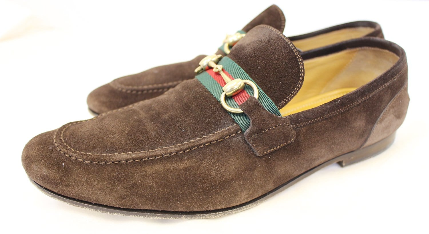 84b7cd5f1d973d GUCCI Men s Horsebit Suede Leather Loafer with Web Size 8