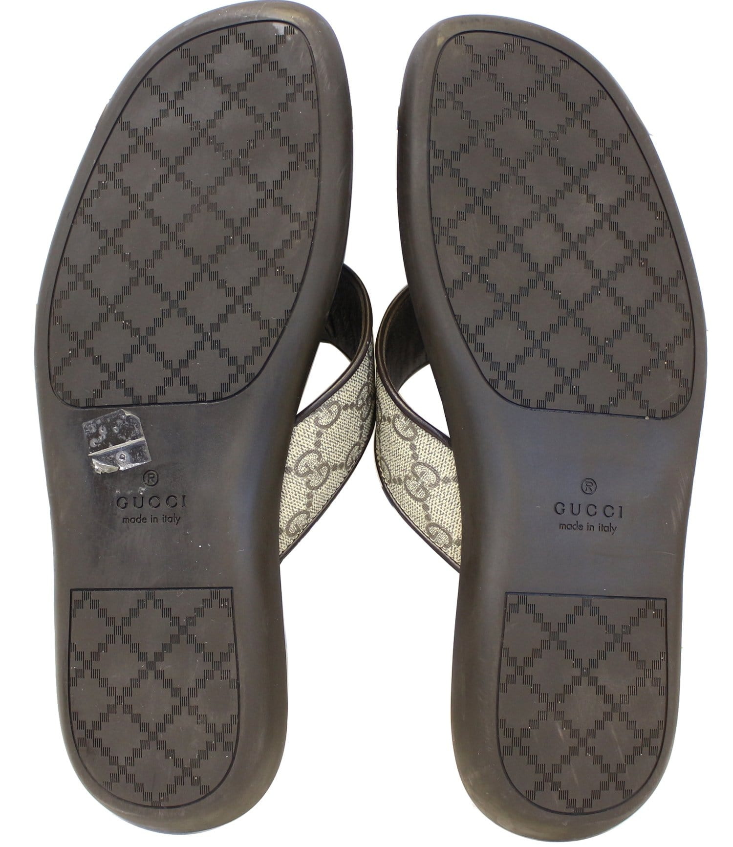 Gucci Mens Gg Supreme Canvas Flip Flops Sandals Size 8 12G-2604