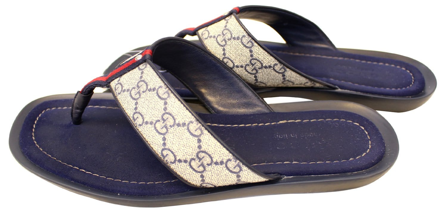 Gucci Mens Gg Supreme Blue Flip Flops Sandals Size 9 G-7609