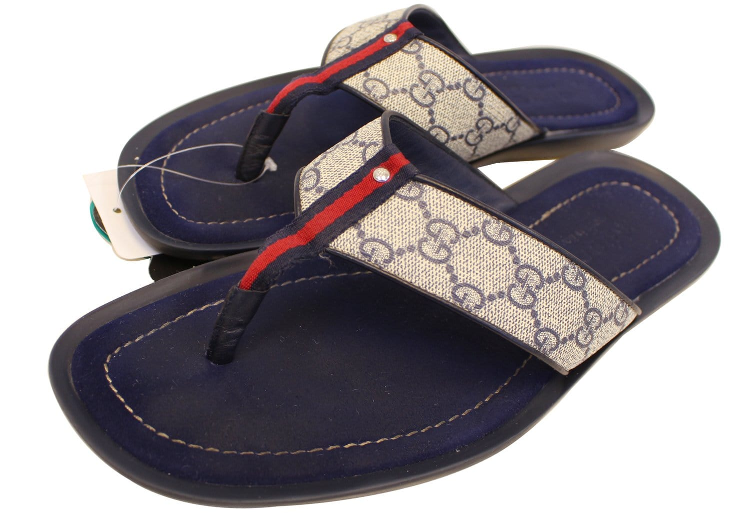 Gucci Mens Gg Supreme Blue Flip Flops Sandals Size 9 G-2820