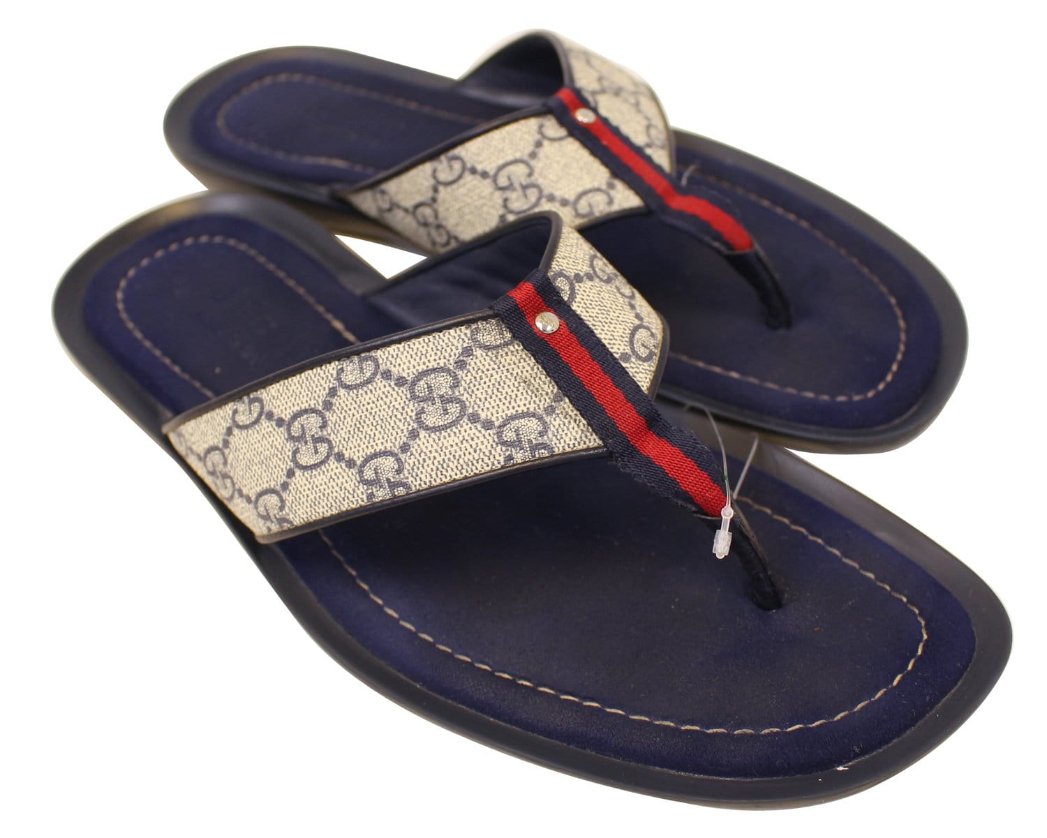 Gucci Mens Gg Supreme Blue Flip Flops Sandals Size 9 G-7231