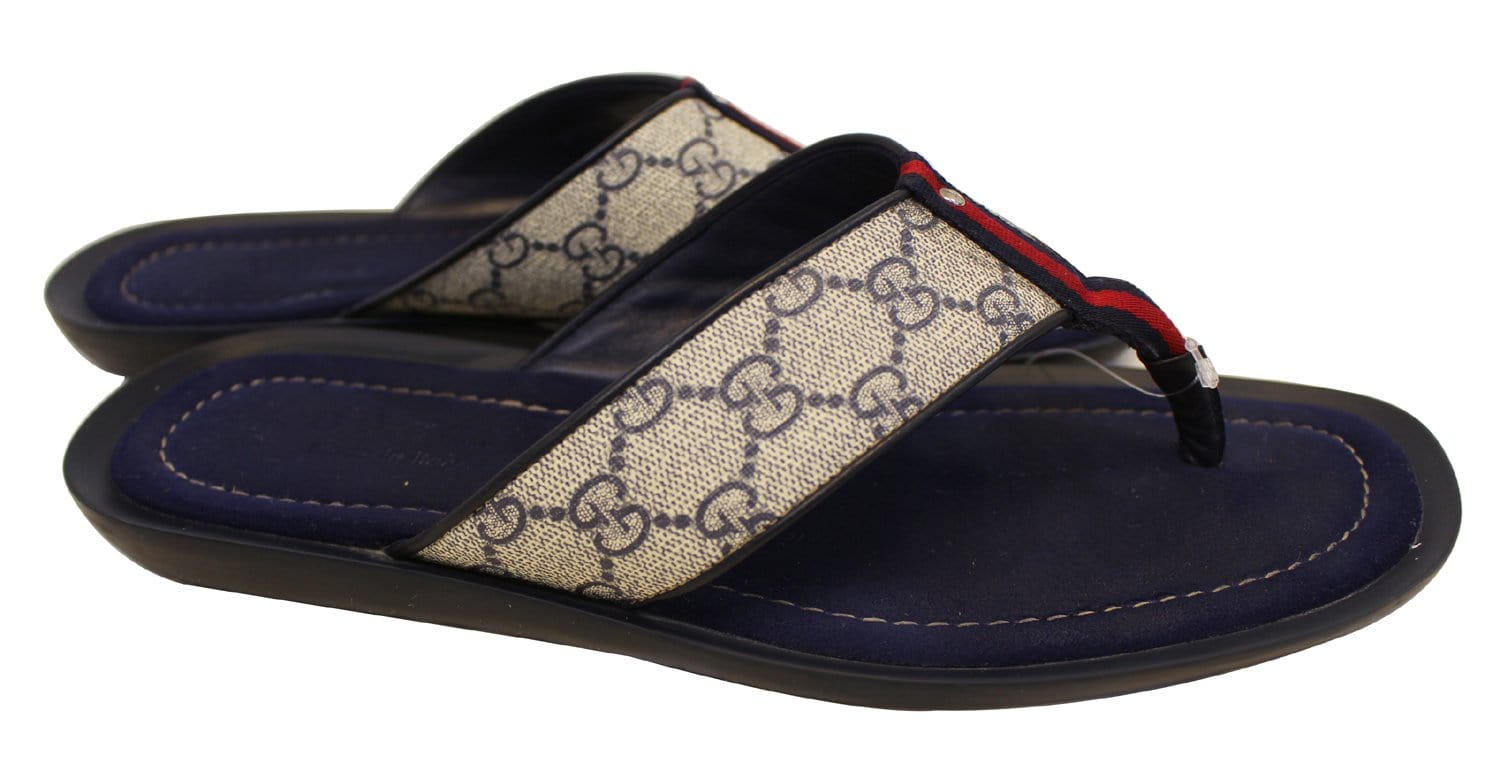 Gucci Mens Gg Supreme Blue Flip Flops Sandals Size 9 G-9015