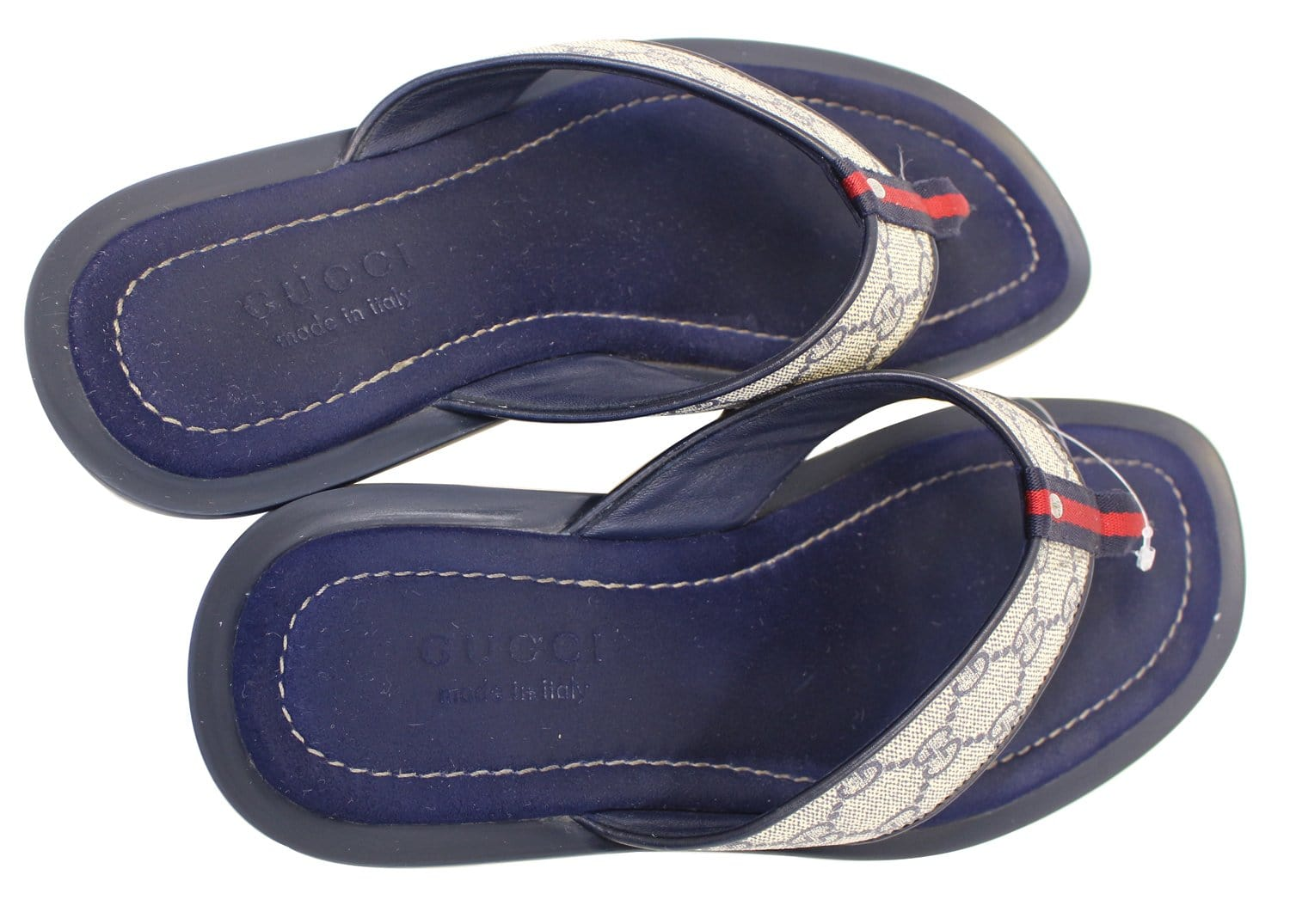 Gucci Mens Gg Supreme Blue Flip Flops Sandals Size 9 G-6047