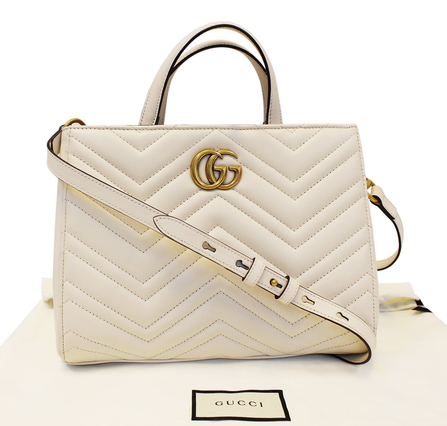 c261b202a1c GUCCI GG Marmont small Matelassé Top Handle White Tote Bag 448054