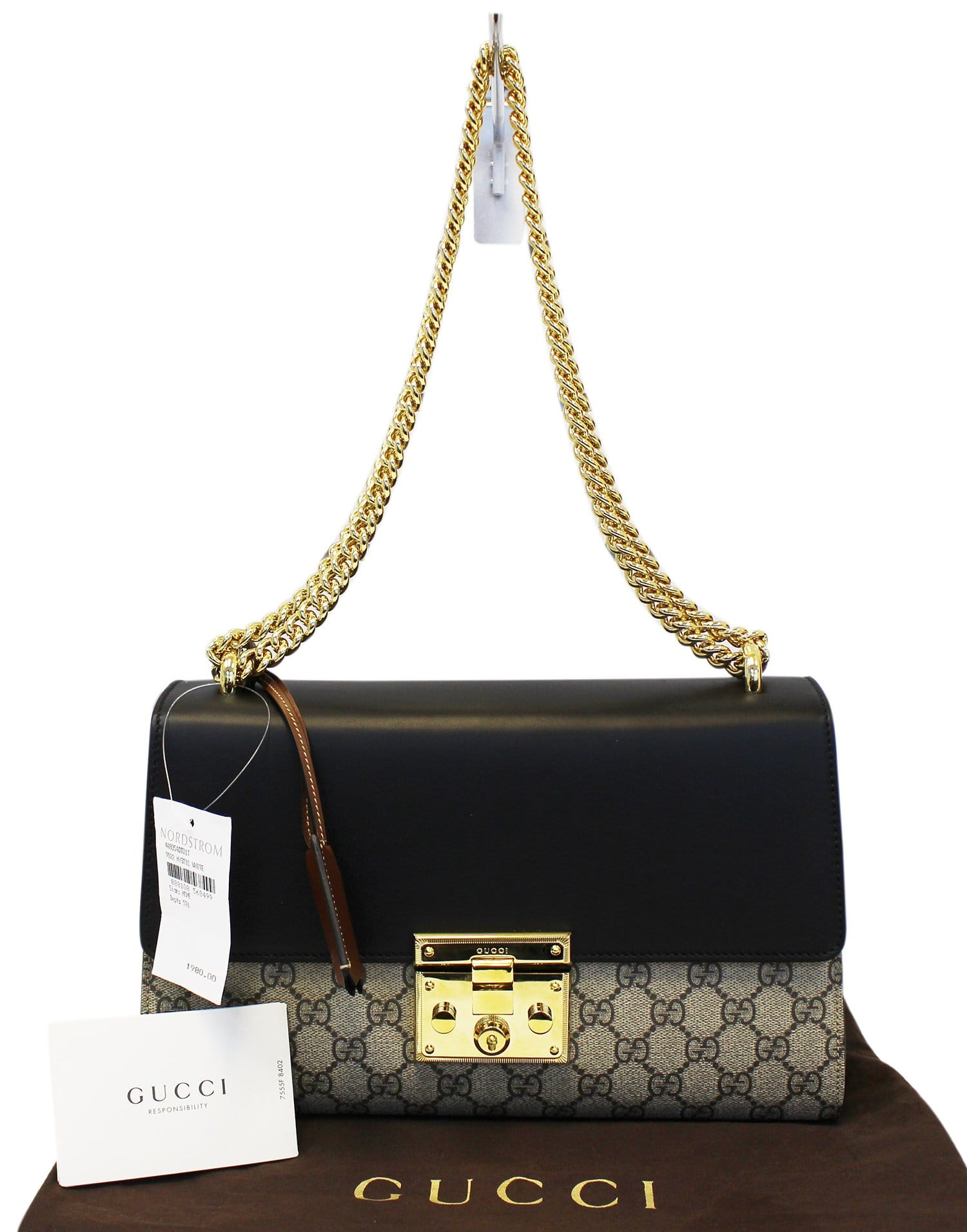bc60ff7bdfeac2 GUCCI GG Supreme Beige/Black Padlock Medium Shoulder Bag