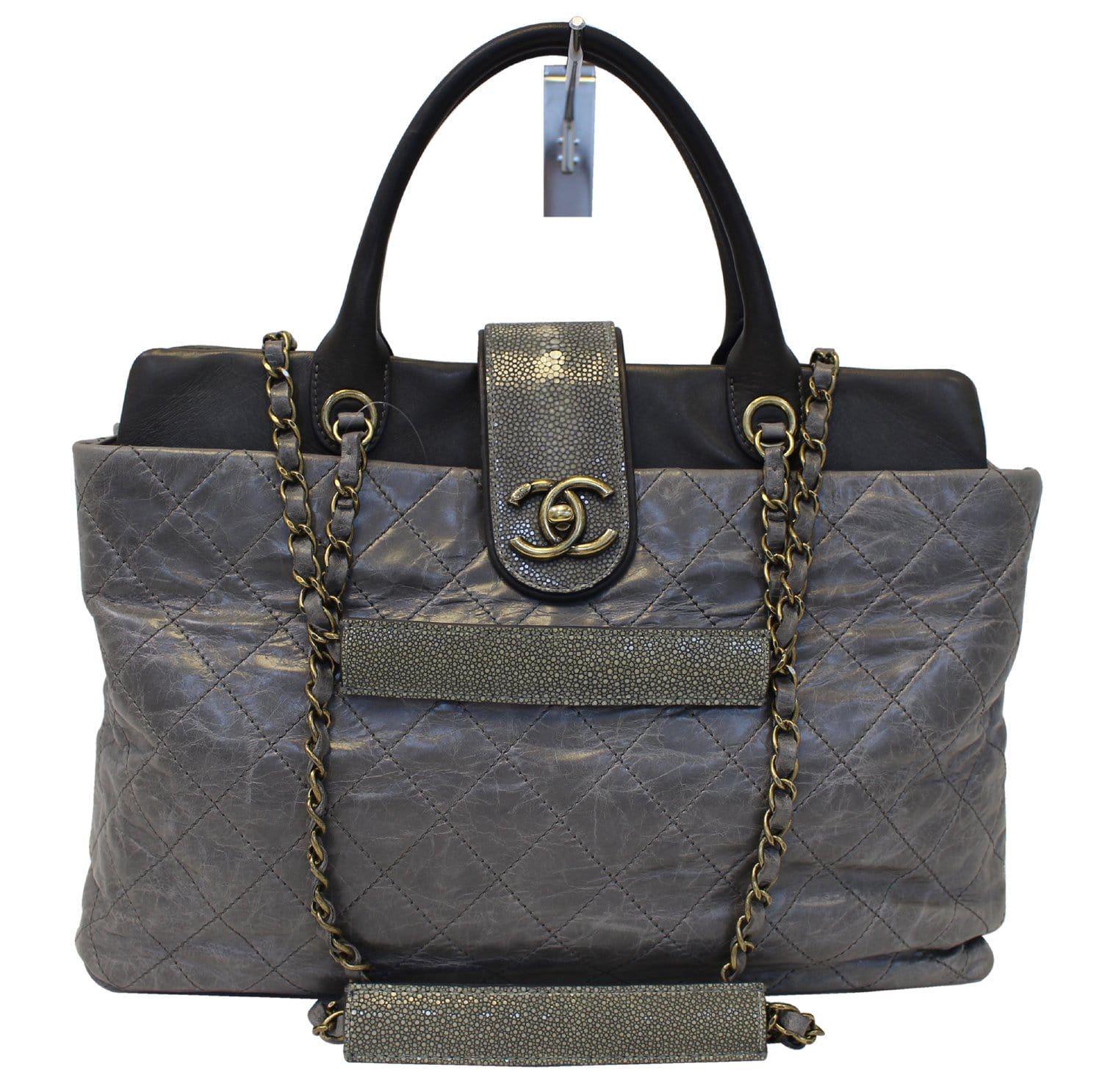 c590980d6ca CHANEL Grey Quilted Calfskin Leather Stingray Bindi CC Shopper Tote ...