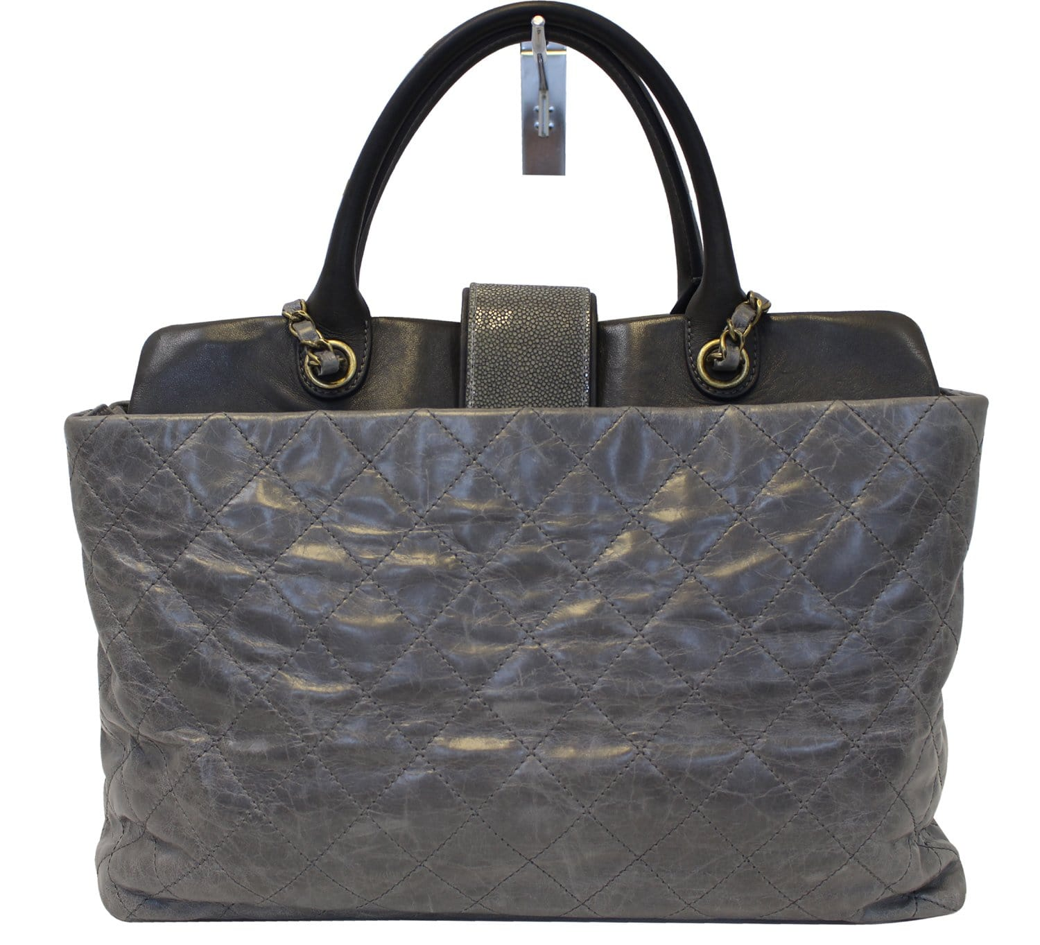 37cb7c95656d CHANEL Grey Quilted Calfskin Leather Stingray Bindi CC Shopper Tote Bag