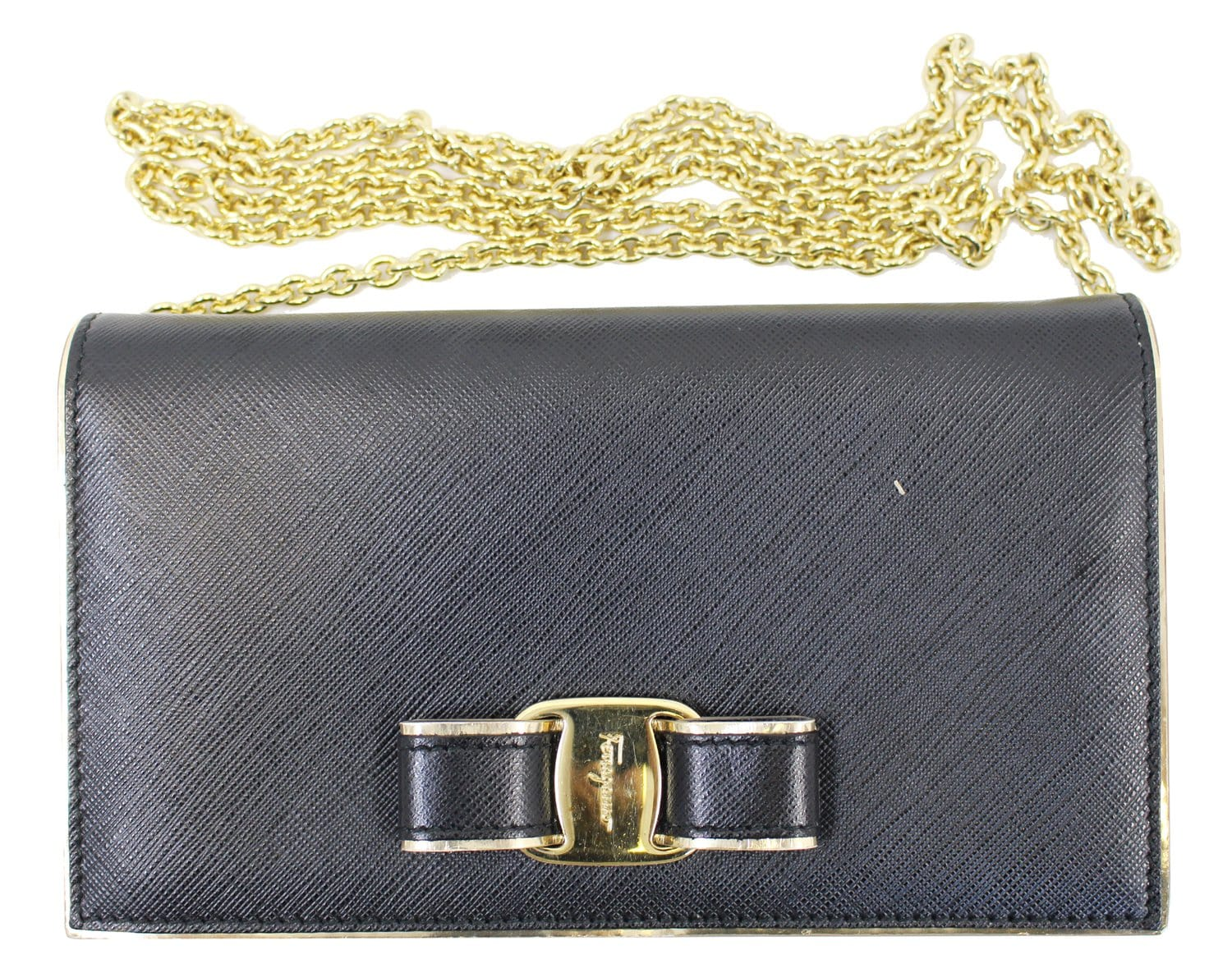 SALVATORE FERRAGAMO Miss Vara Bow Saffiano Leather Wallet Crossbody ... cbacb316c744f