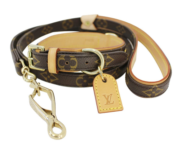 Authentic LOUIS VUITTON Monogram Dog Leash Baxter MM Collier Set E3264