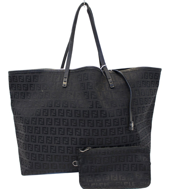 Fendi Zucca Tote Bag with Monogram Canvas Pouch
