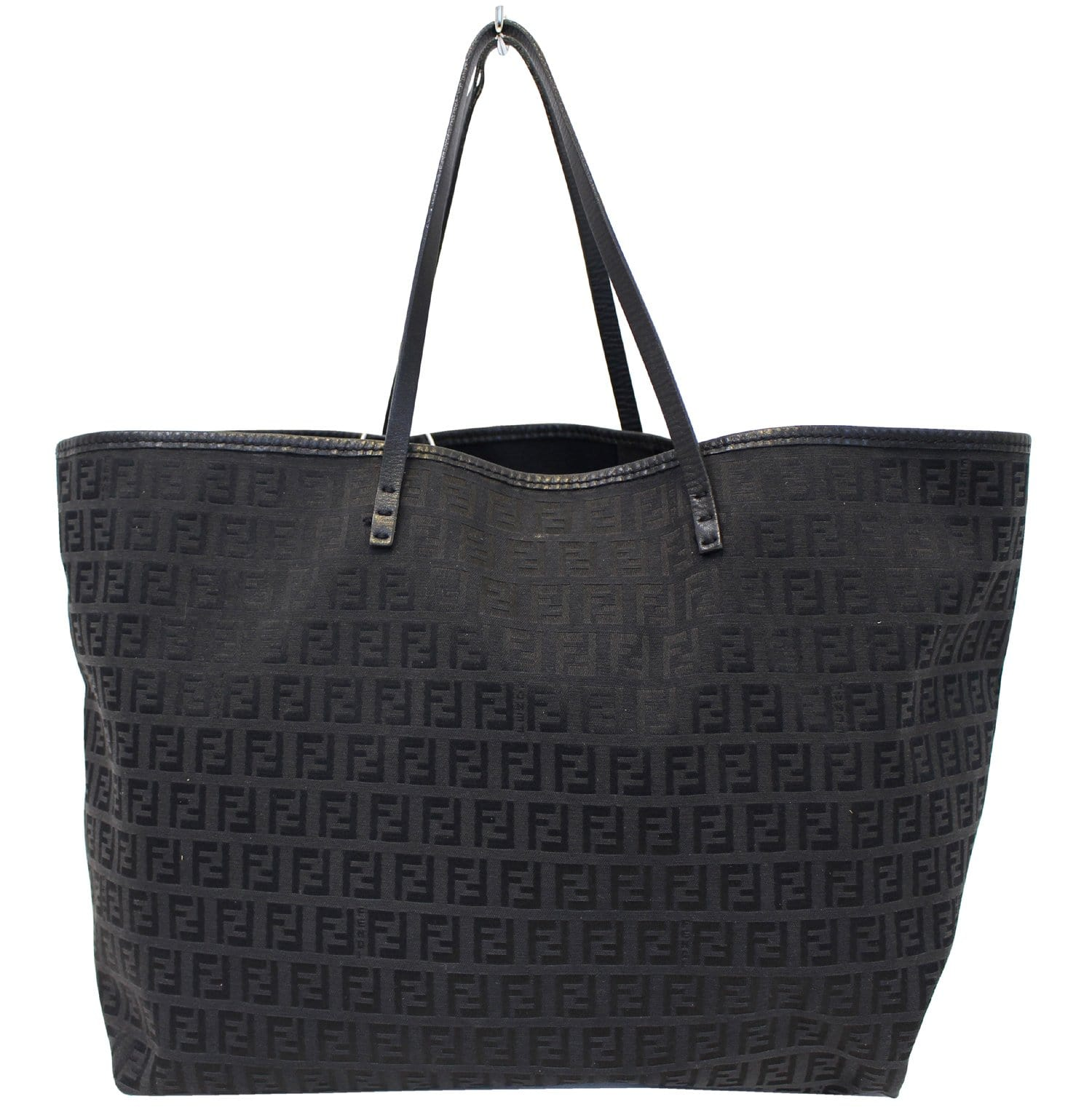 feebe354523e Authentic FENDI Monogram Zucca Pattern Tote Bag with Pouch TT1782