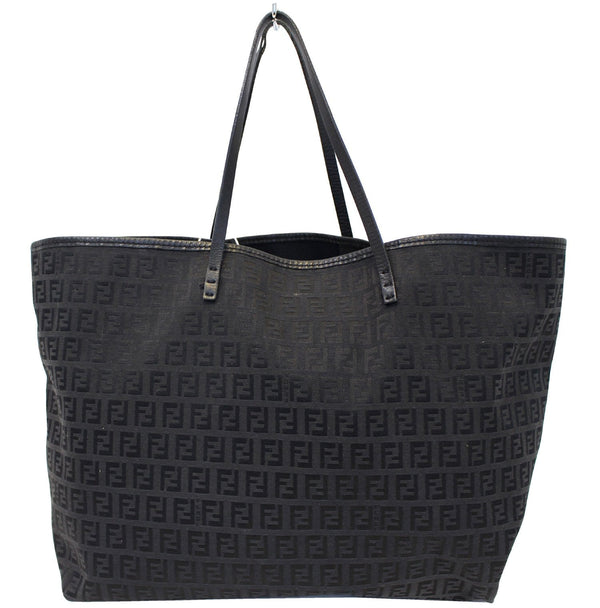 Fendi Zucca Tote Bag with Monogram Canvas Pouch black