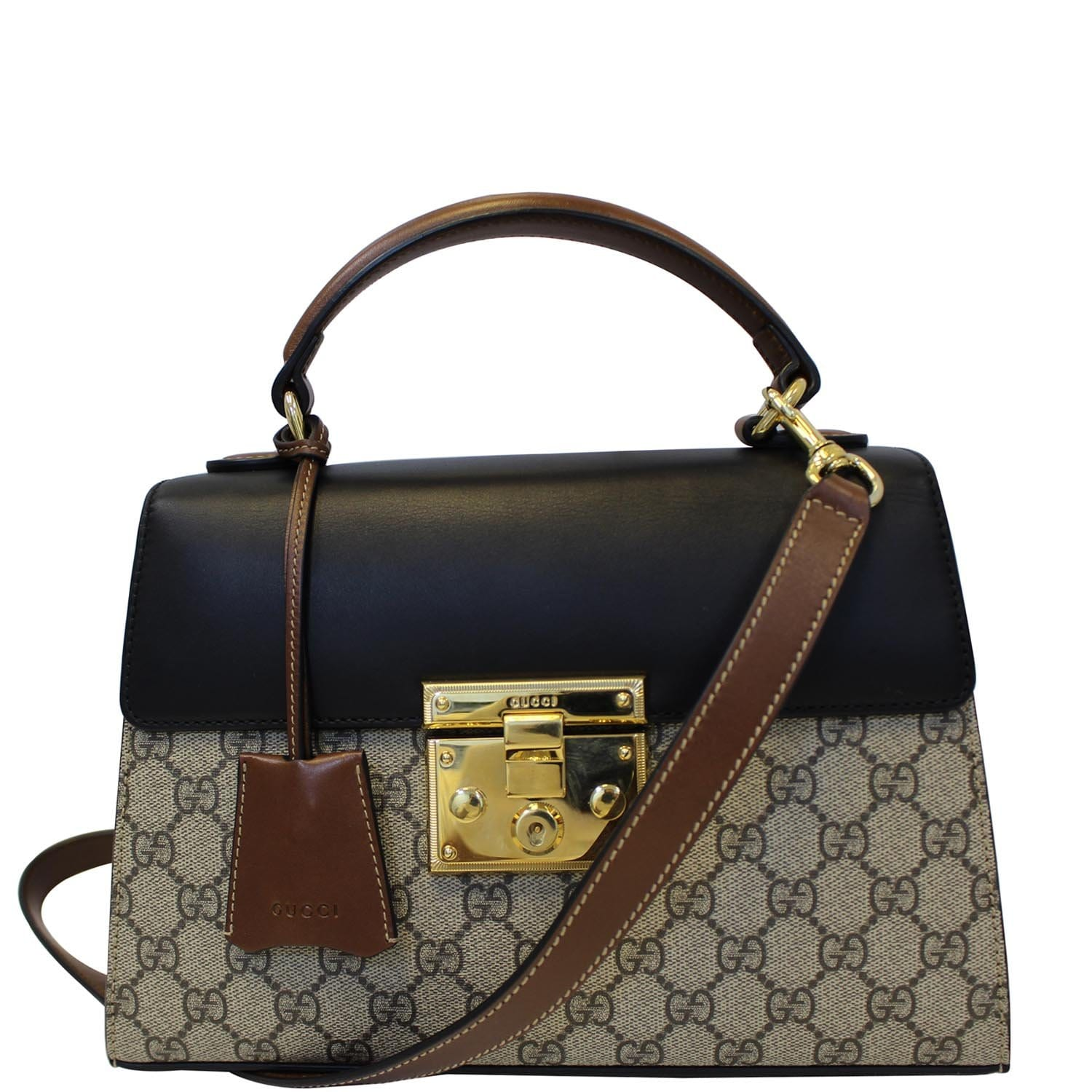 ae6abeff7159 GUCCI Small Padlock GG Supreme Monogram Top Handle Crossbody Bag Beige