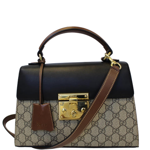 c0095b76a65e27 GUCCI Small Padlock GG Supreme Monogram Top Handle Crossbody Bag Beige