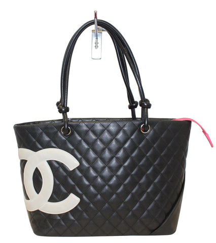 CHANEL Black Quilted Leather Large Cambon Tote Bag