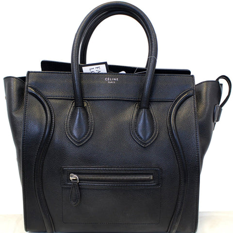 CELINE Black Leather Mini Luggage Tote Bag