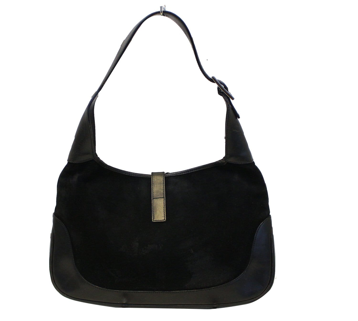16f60cff84a0a5 Gucci Black Suede Leather Jackie Hobo Shoulder Bag