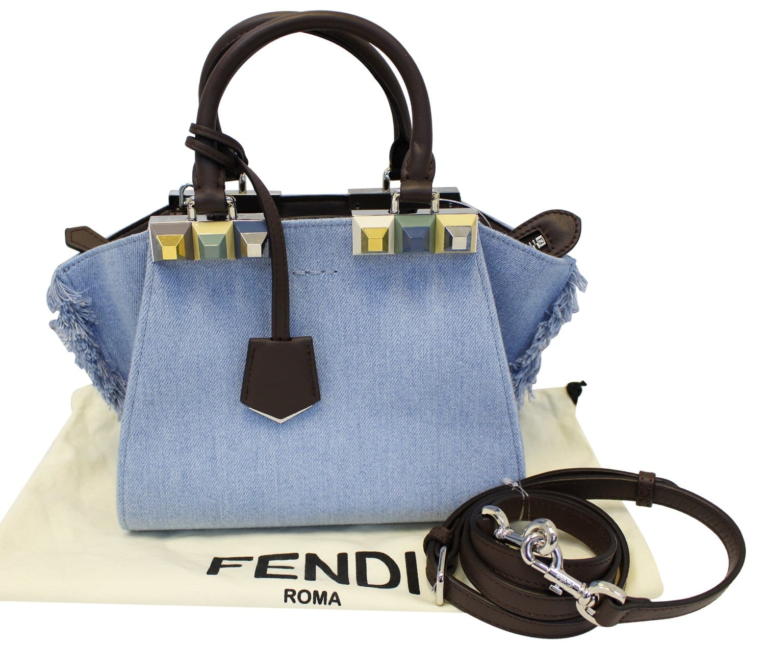 5302fabead11 FENDI 3 Jour Mini Fringed Denim Studs Tote Crossbody Bag - Final Call