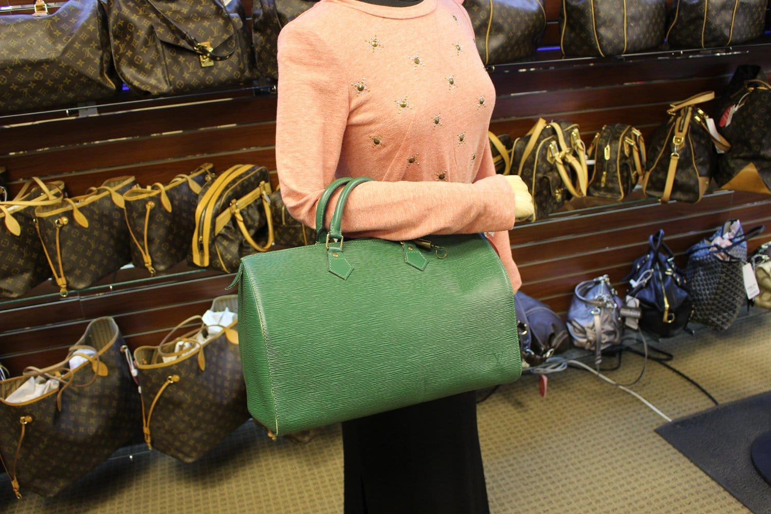 feb6ed3790 LOUIS VUITTON Epi Leather Green Speedy 35 Satchel Bag - 30% Off