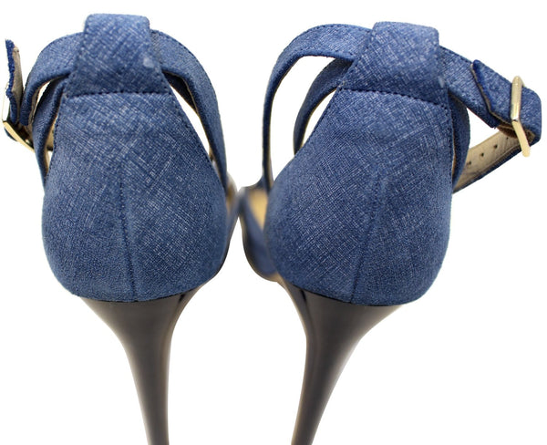 JIMMY CHOO Kayden Denim Platform Sandals Blue Size 39.1/2