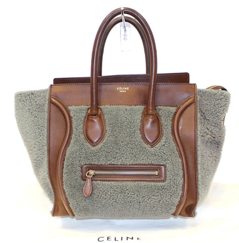 CELINE Grey Shearling Brown Leather Mini Luggage Tote Bag