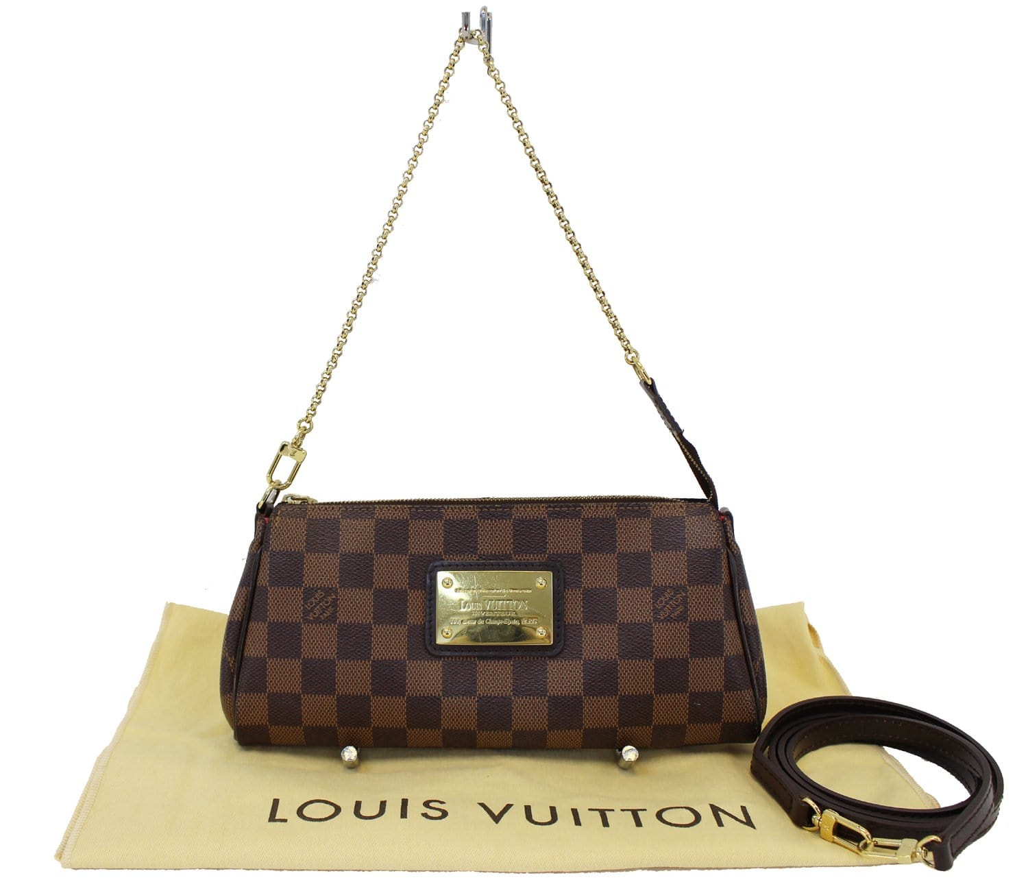 0893aa1aa3ab Authentic LOUIS VUITTON Damier Ebene Eva Accessories Pouch Crossbody T